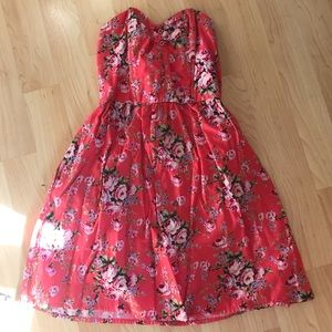 Coral strapless floral dress